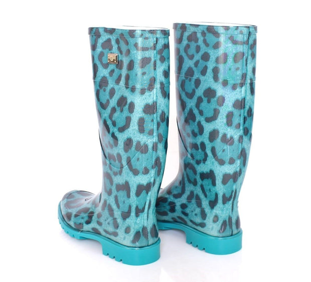 Blue Leopard Rubber Rain Boots Shoes Wellies