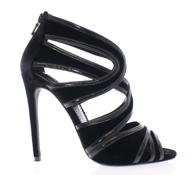 Black Silk Leather Mary Poppins Pumps Shoes