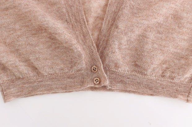 Lingerie Knit Brown Wool Sweater Cardigan