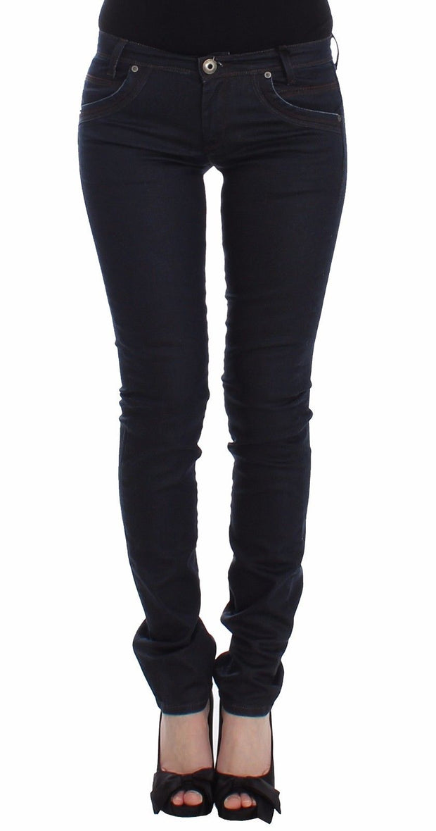 Blue Slim Jeans Denim Pants Skinny Leg Stretch