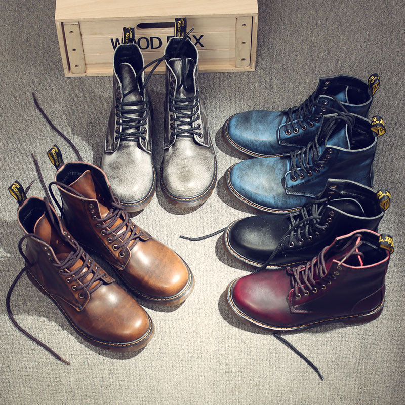 Vintage Military martin Boots Men High Boots Genuine leather Shoes Men Motorcycle Boots Riding Man Shoes Lace-up Zapatos Hombre