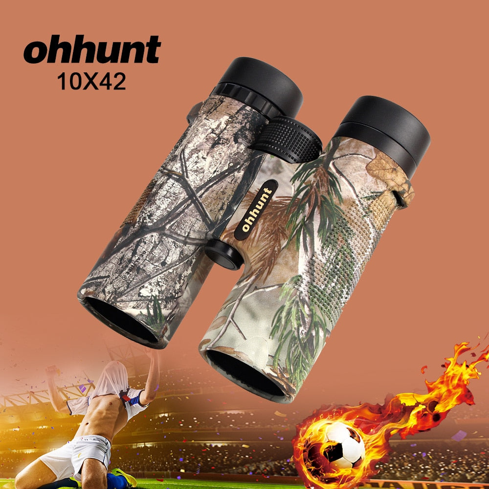 ohhunt Military 10X42 Hunting Scope Telescope Camouflage Binoculars High Power Army HD Wide Angle Binocular for Football