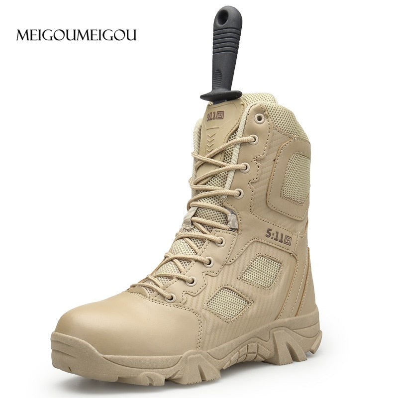 MEIGOUMEIGOU Big Size 39-47 Mens Boots Wear-resisting Non-slip Army Boots Men Waterproof Outdoor Climbing Hiking Boots Men