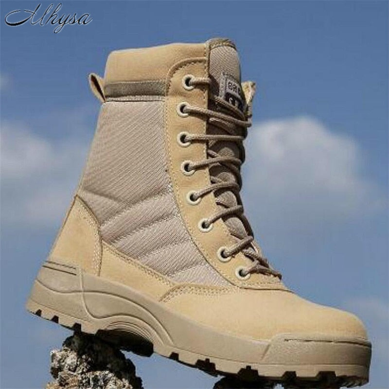 Mhysa 2018 Men Desert Tactical Military Boots Mens Work Safty Shoes SWAT Army Boot  Zapatos Ankle Lace-up Combat Boots S831
