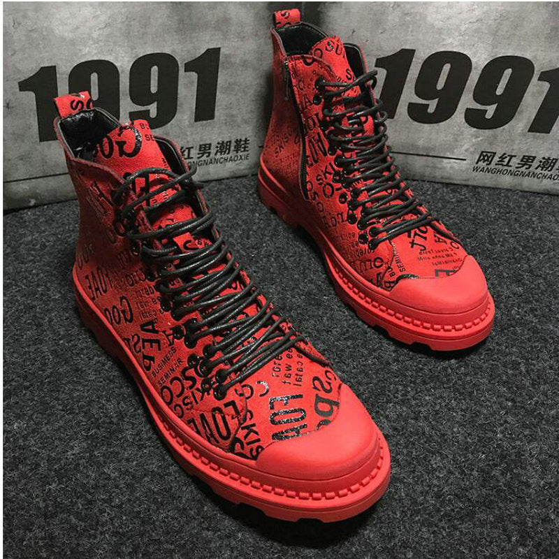Mens army boots Casual martin boots High Top ankle Canvas Shoes Male RED Hip hop camouflage military boots Canvas Shoes  MM-89
