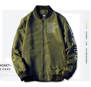 New Bomber Jacket Men Pilot with alphabet design Thin Pilot Bomber Jacket Men Wind Breaker Jacket Army green black grey White