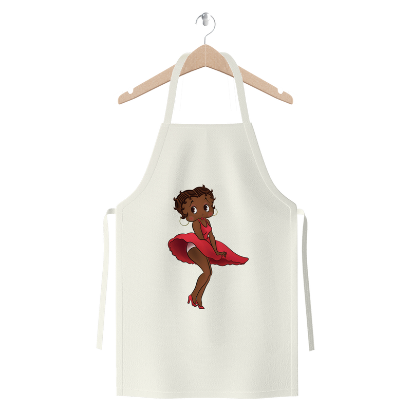 Red Dress Betty Brown Premium Jersey Apron | Black Betty Boop