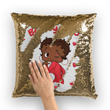 Kisses Betty Brown Sequin Cushion Cover | Black Betty Boop