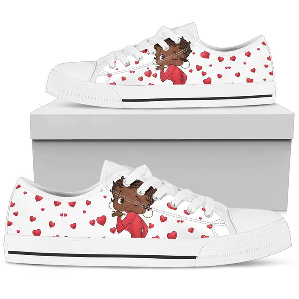 Kissing Betty Brown Sneaker White Sole | Black Betty Boop