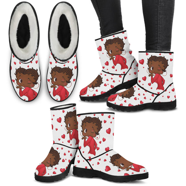 Kissing Betty Fuzzy Boots | Black Betty Boop