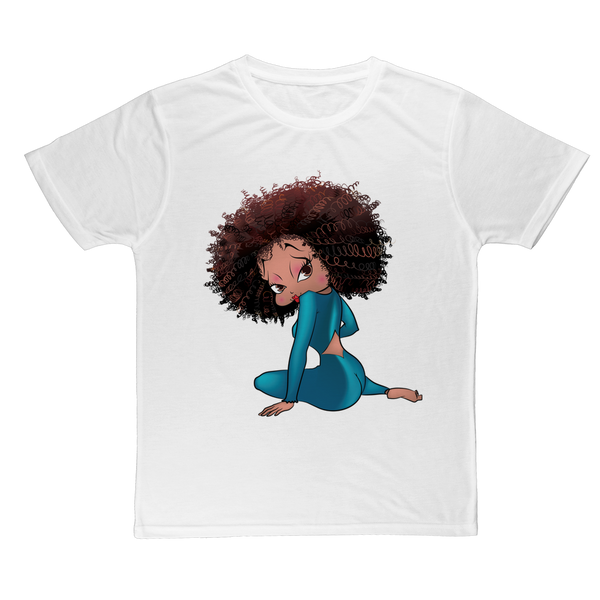 Black Betty Boop Sitting Classic Sublimation Adult T-Shirt | Black Betty Boop
