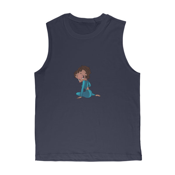 Sitting Betty Medium Premium Adult Muscle Top | Black Betty Boop