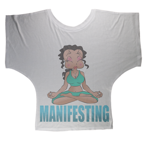 Meditating Manifest Betty Sublimation Batwing Top | Black Betty Boop