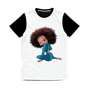 Sitting Betty Light Classic Sublimation Panel T-Shirt | Black Betty Boop