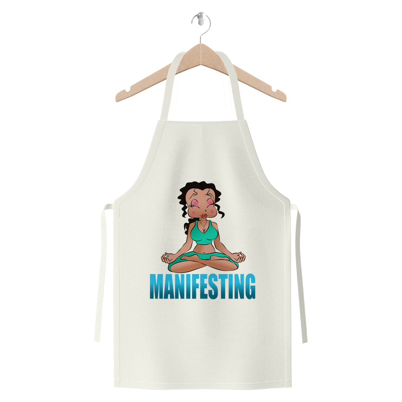 Meditating Manifest Betty Premium Jersey Apron | Black Betty Boop