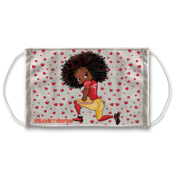 Kneeling Betty Sublimation Face Mask | Black Betty Boop