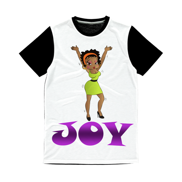 Dancing Joy Betty Classic Sublimation Panel T-Shirt | Black Betty Boop