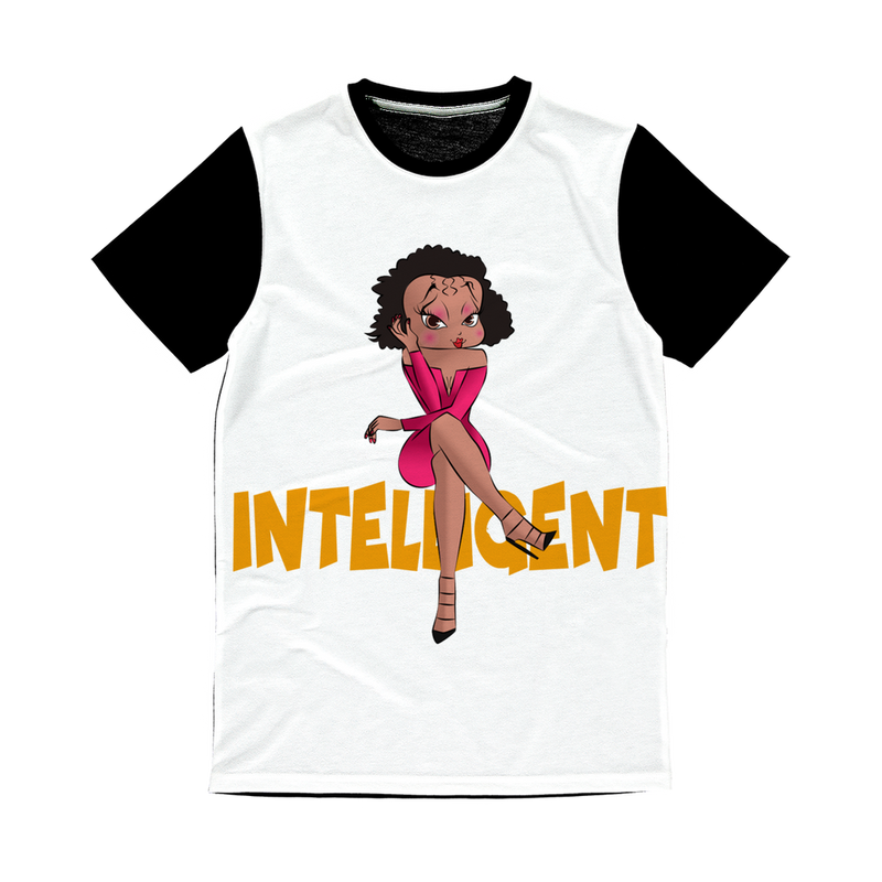 Intelligent Betty Classic Sublimation Panel T-Shirt | Black Betty Boop