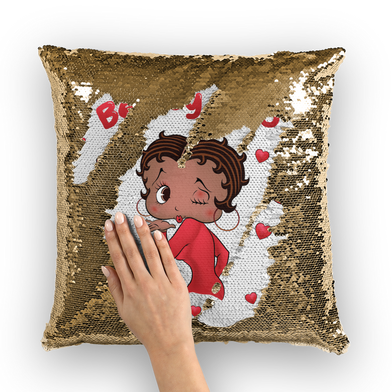 Kisses Betty Medium Sequin Cushion Cover | Black Betty Boop
