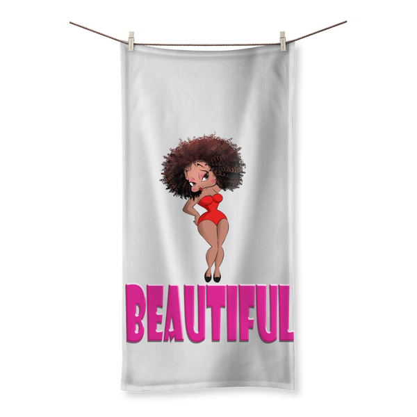 Beautiful Betty Sublimation All Over Towel | Black Betty Boop
