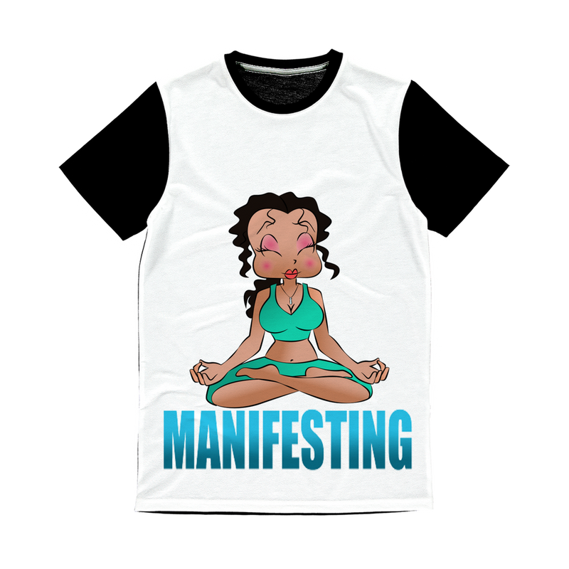 Manifesting Betty Classic Sublimation Panel T-Shirt | Black Betty Boop