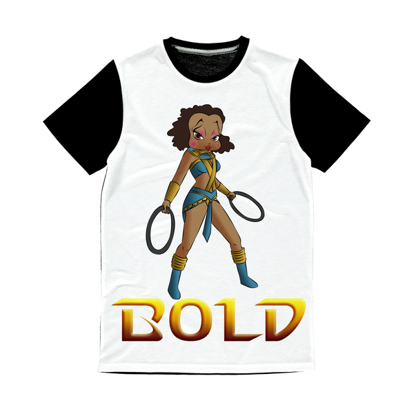 Superhero Betty Bold Classic Sublimation Panel T-Shirt | Black Betty Boop