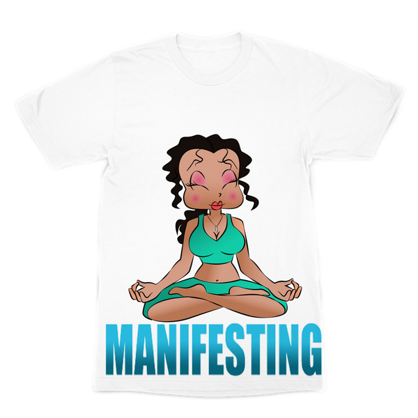 Meditating Manifest Betty Premium Sublimation Adult T-Shirt | Black Betty Boop