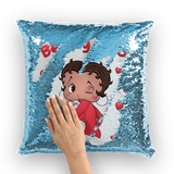 Kisses Betty Light Sequin Cushion Cover | Black Betty Boop
