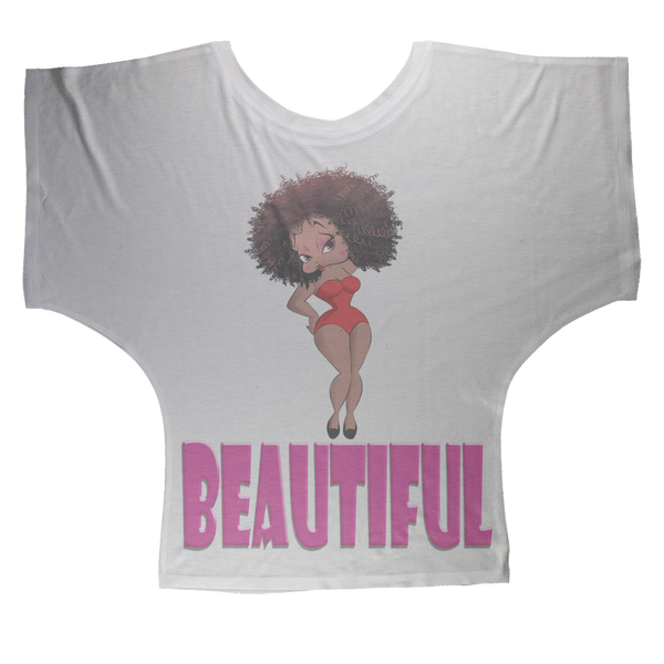 Beautiful Betty Sublimation Batwing Top | Black Betty Boop