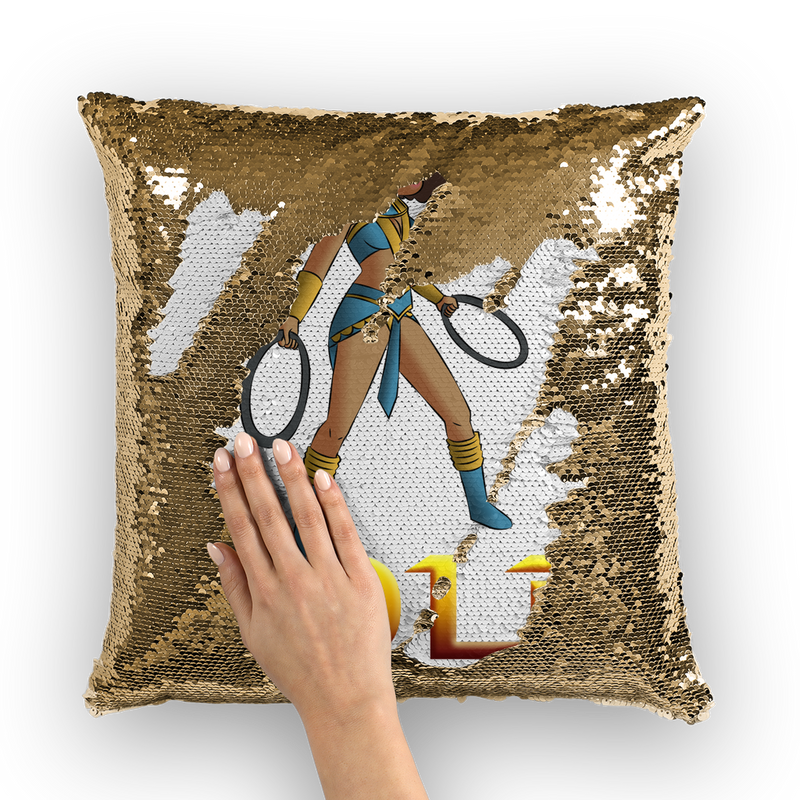 Superhero Betty Bold Sequin Cushion Cover | Black Betty Boop