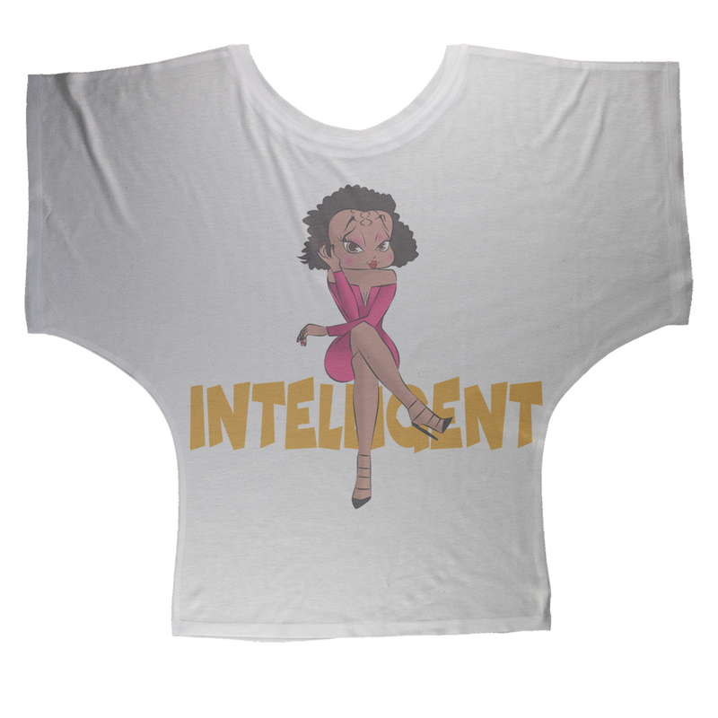 Intelligent Betty Sublimation Batwing Top | Black Betty Boop