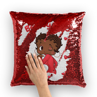 Kisses Betty Brown Sequin Cushion Cover