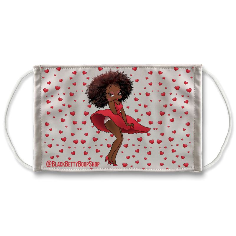 Red Dress Betty Brown Sublimation Face Mask | Black Betty Boop