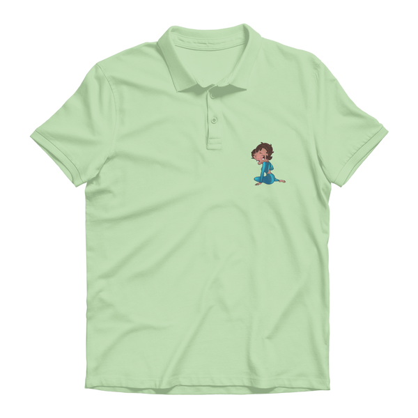 Sitting Betty Medium Premium Adult Polo Shirt | Black Betty Boop