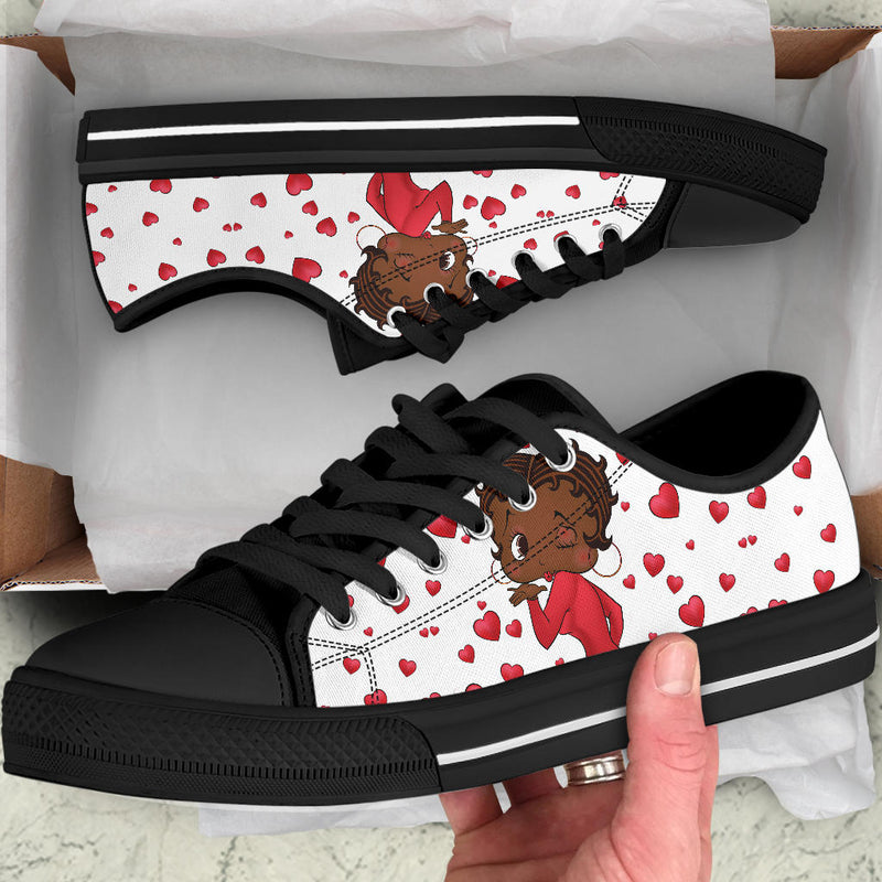 Kissing Betty Brown Sneaker Black Sole | Black Betty Boop
