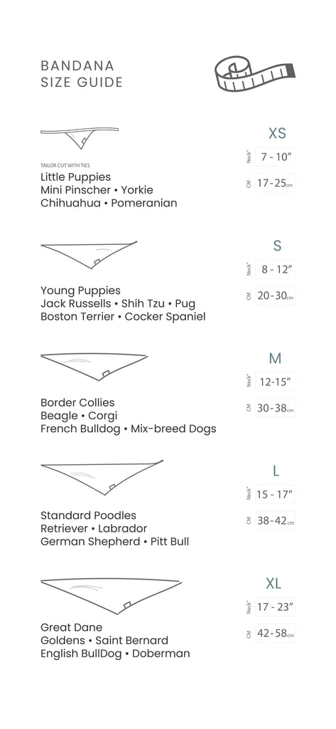 The Paws Bandana Size Guide