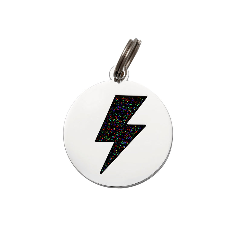 Lightning Bolt ID Tag - Black-Silver