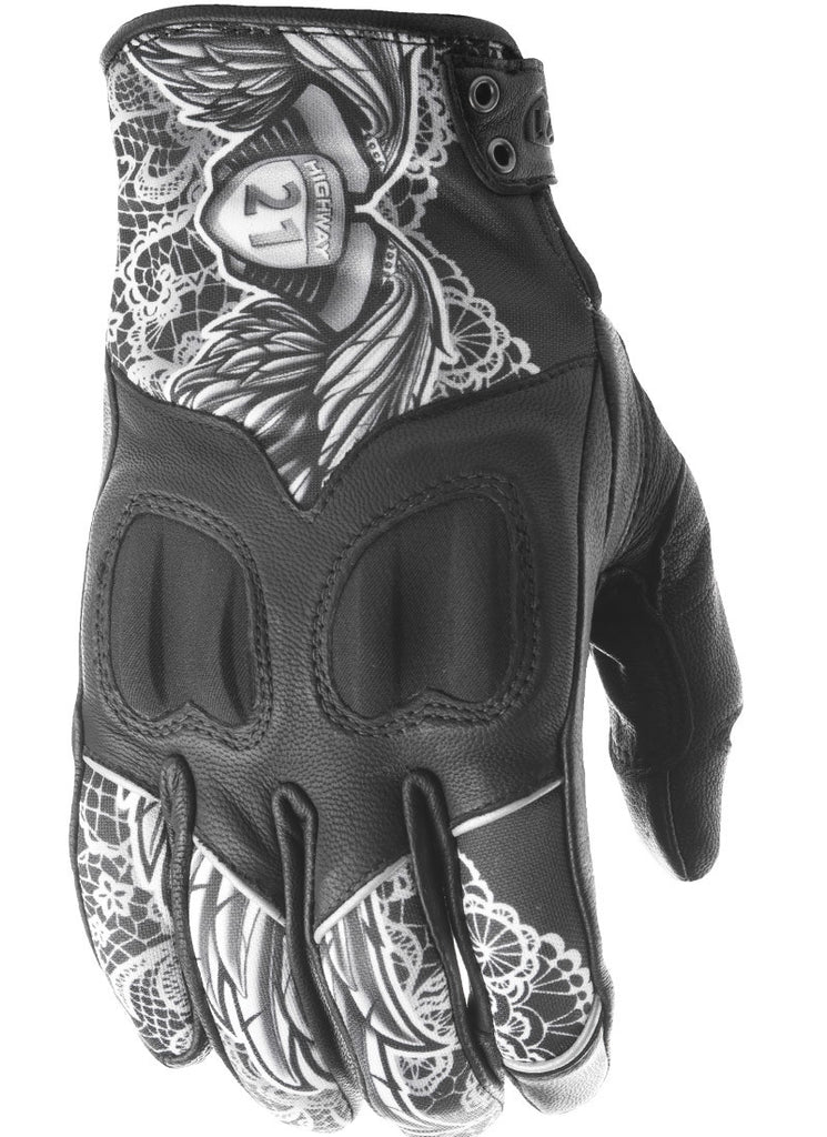WOMEN'S VIXEN GLOVES BLACK/WHITE LACE 2X - Team Dream Rides