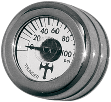 "Load image into Gallery viewer, EDDIE TROTTA DESIGNS Mini Oil Pressure Gauge and Cover - Polished - White Face - 3/16"" W x 9/16"" D Mini Oil Pressure Gauge and Cover"