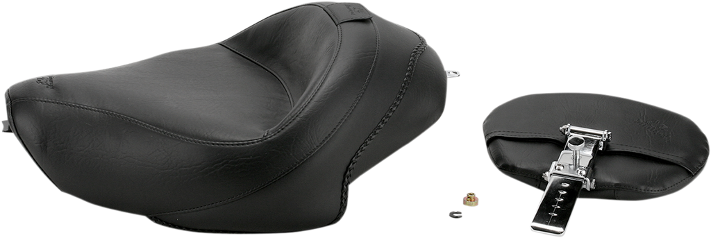 MUSTANG Wide Vintage Solo Seat - Driver's Backrest - XL '04+ Wide-Style Solo Seat with Removable Backrest - Team Dream Rides