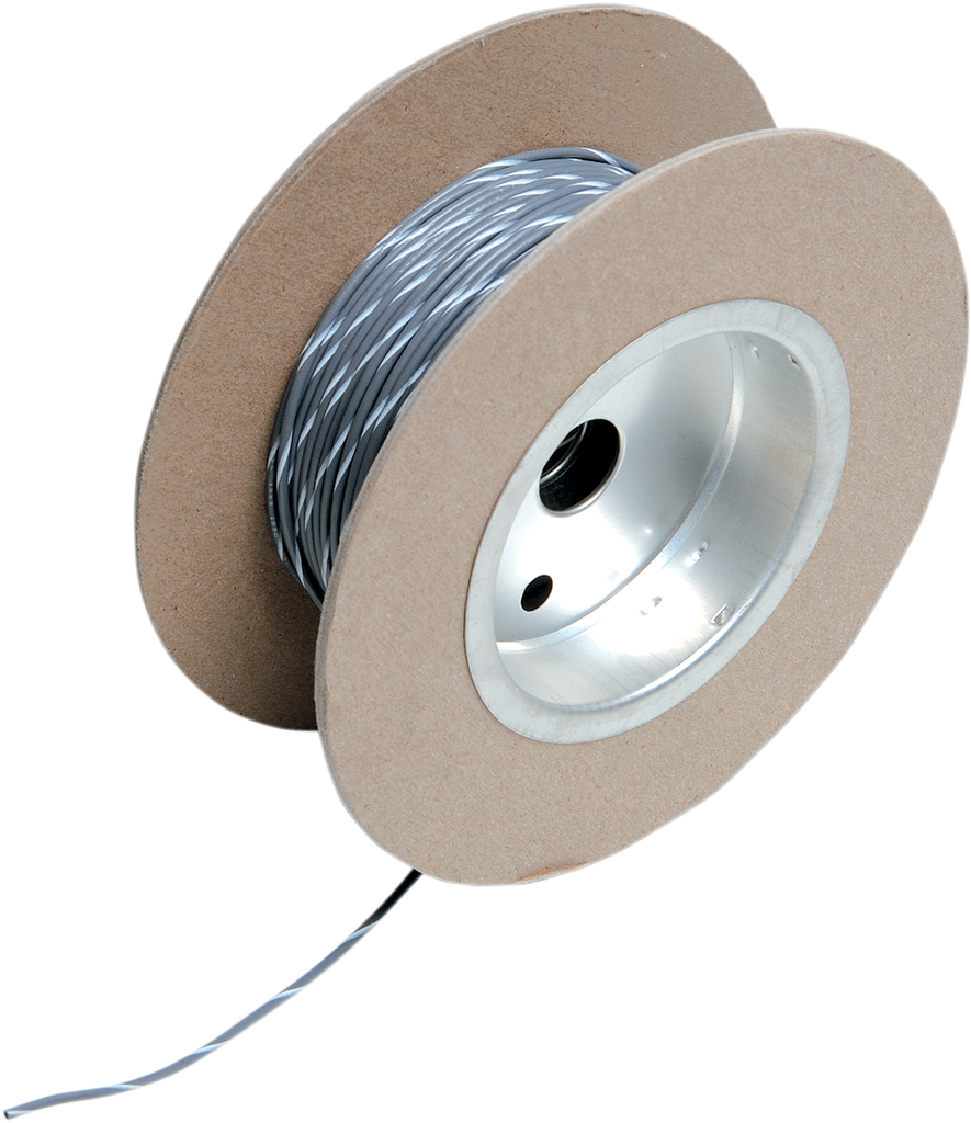 NAMZ 100' Wire Spool - 18 Gauge - Gray/White OEM Color Wire Spool