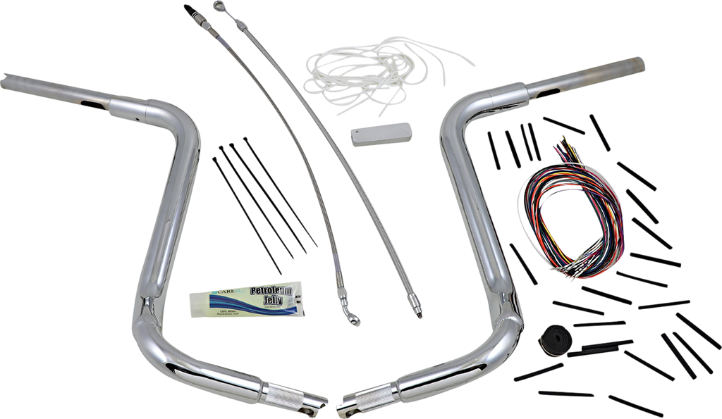 "FAT BAGGERS INC. 16"" Chrome 1-1/2"" Rounded Top Handlebar Kit 1-1/2"" EZ Install Rounded Top Handlebar Kit"
