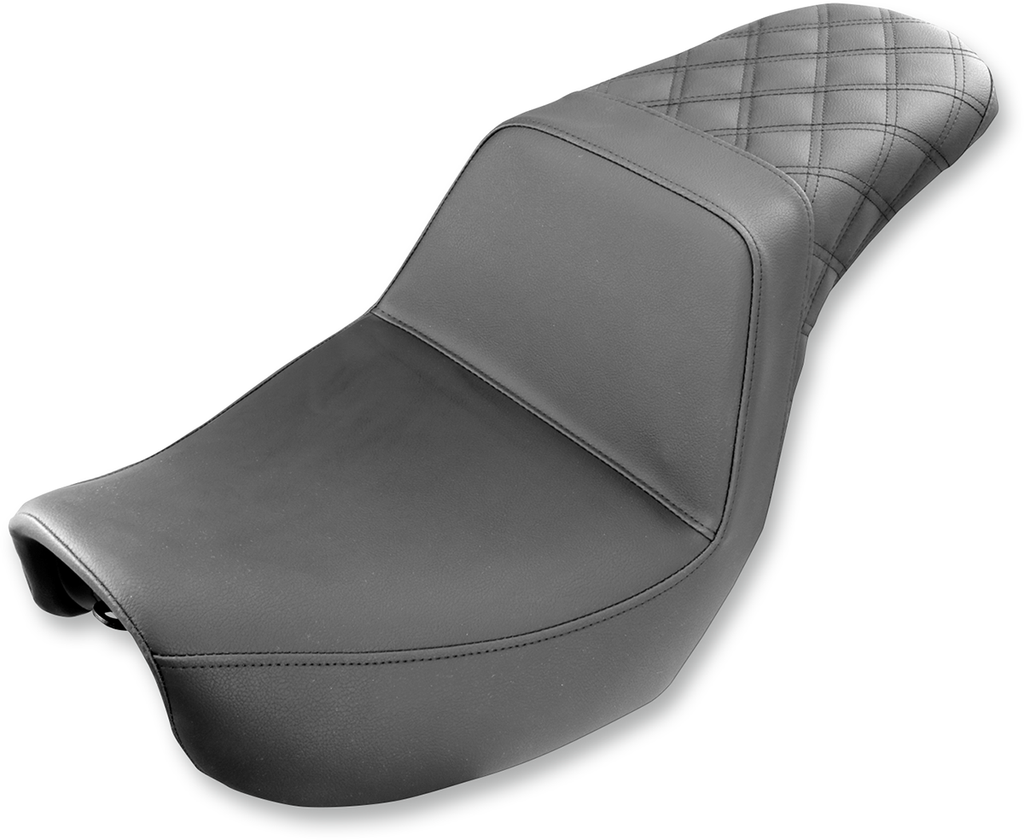 SADDLEMEN Step Up Seat - Rear Lattice Stitched - Dyna Rear Step Up LS Seat - Team Dream Rides