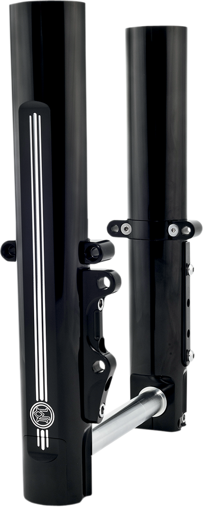 PERFORMANCE MACHINE (PM) Lower Fork Leg Kit - Single Disc - Contrast Cut - Black/Silver - '14-'20 FL Fork Leg Kit for Stock or PM Calipers — Contrast Cut™ - Team Dream Rides