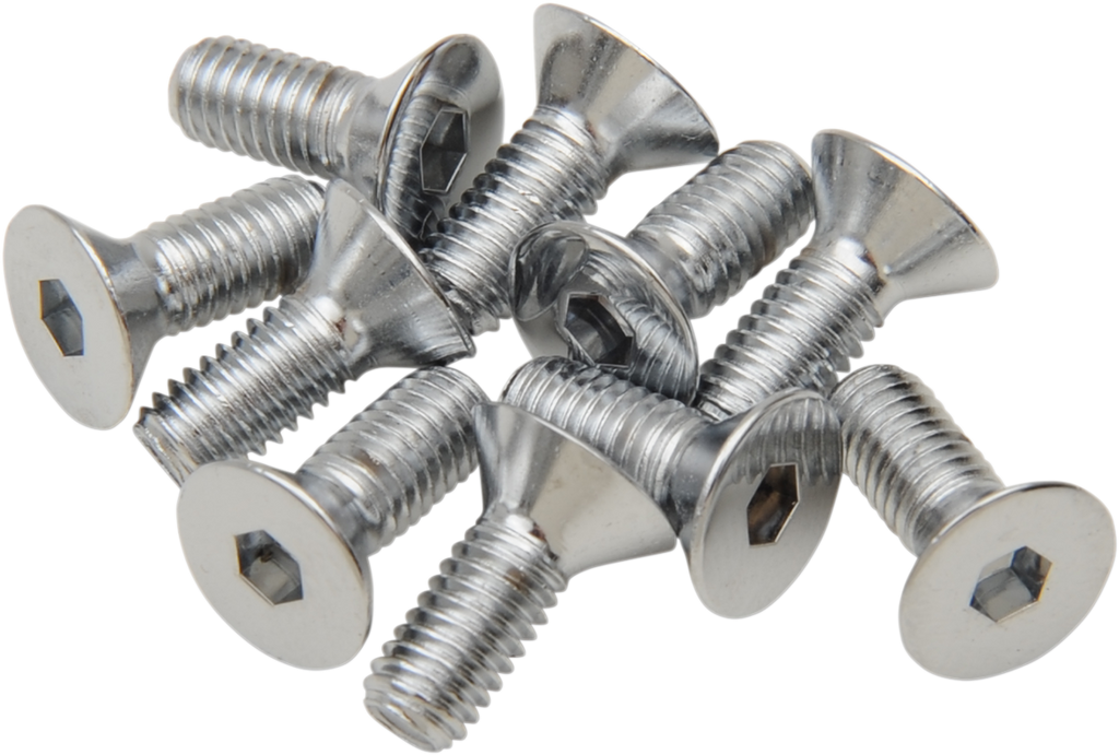 DRAG SPECIALTIES 10X32X3/4 Chrome Flat Head Countersunk Socket-Head Bolts