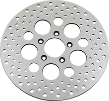 "Load image into Gallery viewer, DRAG SPECIALTIES Drilled Brake Rotor - Front - 11.5"" - Harley-Davidson Polished Stainless Steel Drilled Brake Rotor"