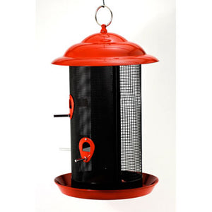 FEATHERED FRIEND BIRD FEEDER MESH COMBO FEEDER RED LARGE