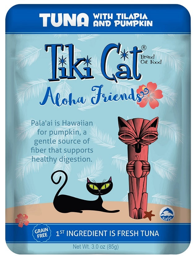 Tiki Cat Aloha Friends Grain Free Tuna with Tilapia and Pumpkin Cat Food Pouches