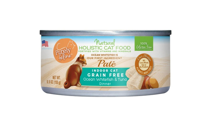 Purely Feline Grain Free Ocean Whitefish & Tuna Dinner Pate Canned Cat Food