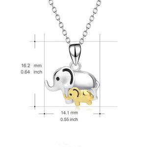 Lucky Elephant Mother & Child Pendant Necklace Sterling Silver